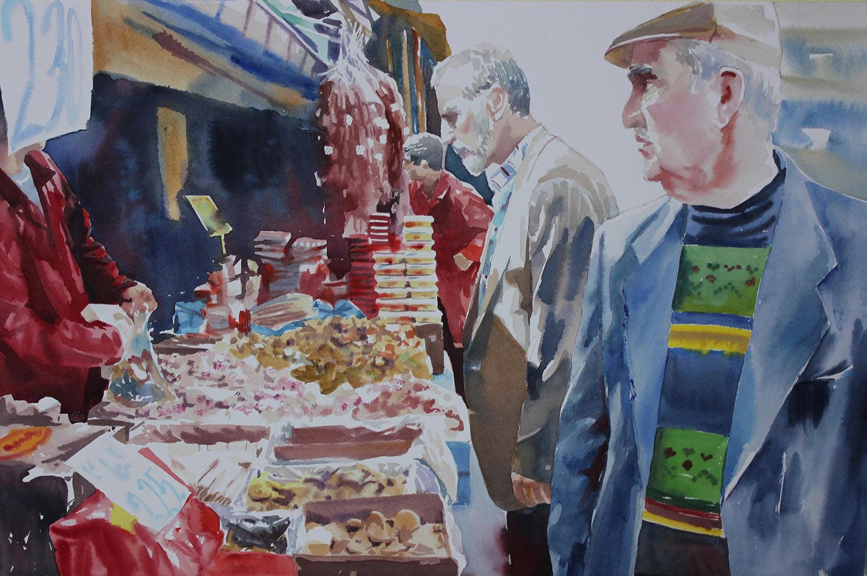 Al mercato di Ankara - 54x36 acquerello su carta