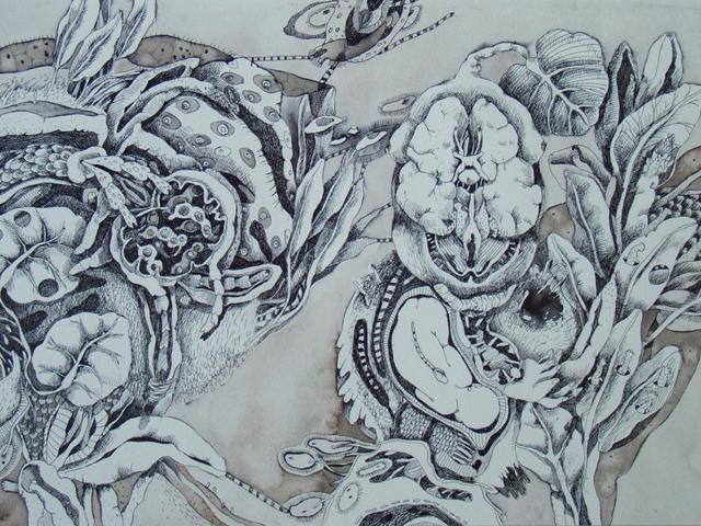 Ancestrale - disegno a china e acquerello su carta 25x36
