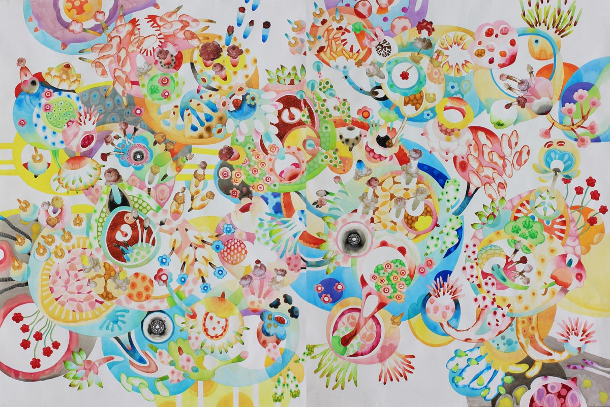 fusone di micro e macrocosmo, fioriture, sfarzose composizioni cromatiche