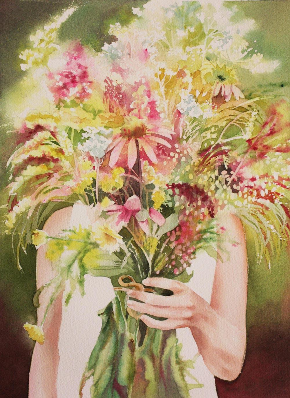 mazzo di fiori, acquerello