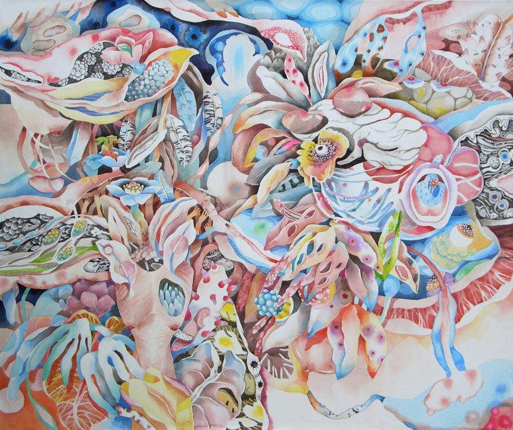 Biomorfismo, composizione androgina, acquerello e disegno a china