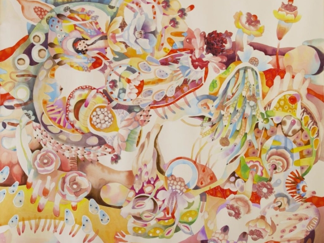 Giardino Capovolto, 108x130, acquerello su carta, 2011