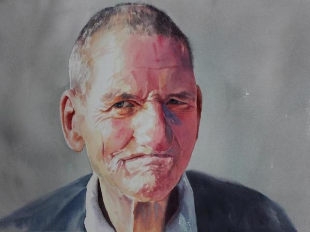 ritratto Giovanni, 36x65, acquerello su carta, 2015