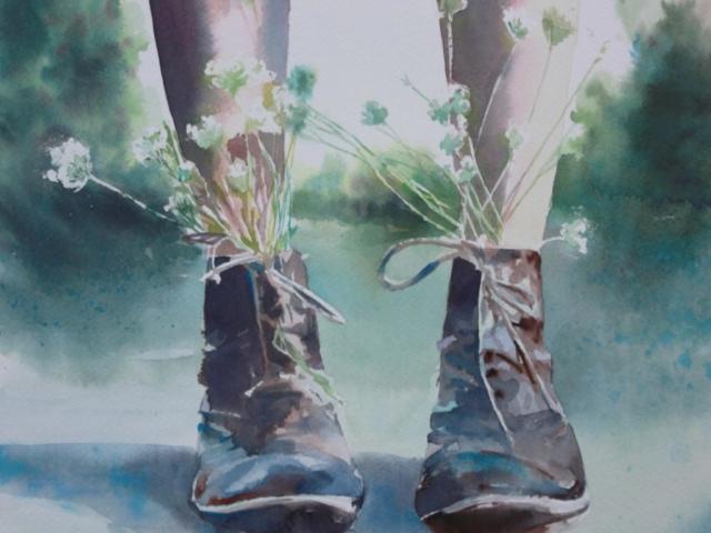 stivali fioriti, acquerello