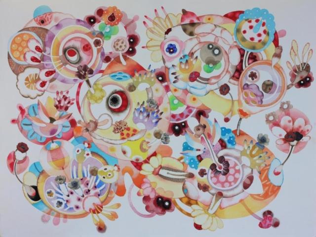 Innesti, 100x70, acquerello su carta, 2010