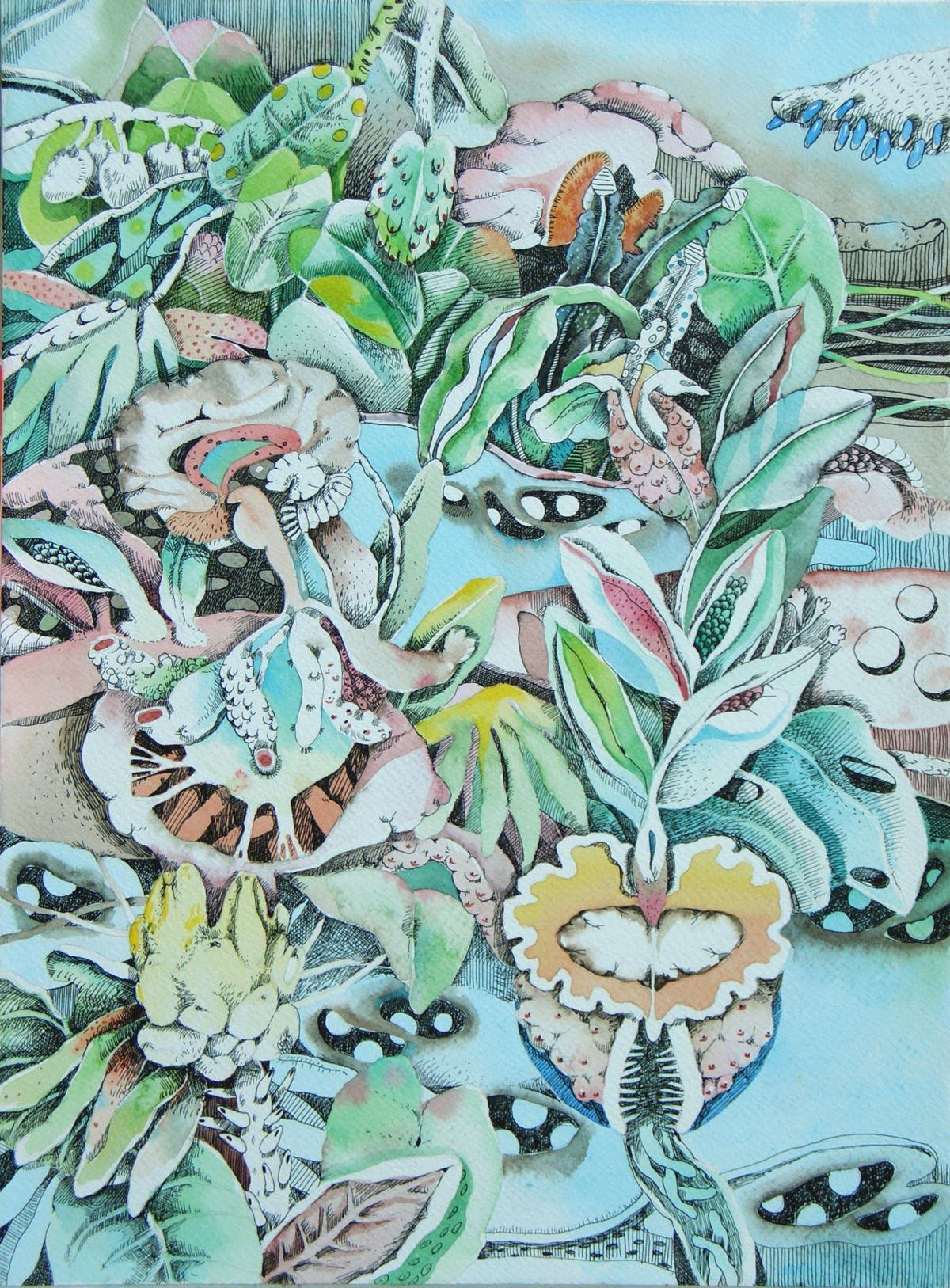 Metamorfosi Vegetali, 30x40, acquerello e chine su carta intelaiata, 2010