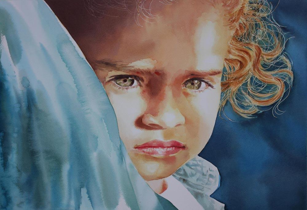 ritratto bambina sull'autobus, 38x56, acquerello su carta, 2014