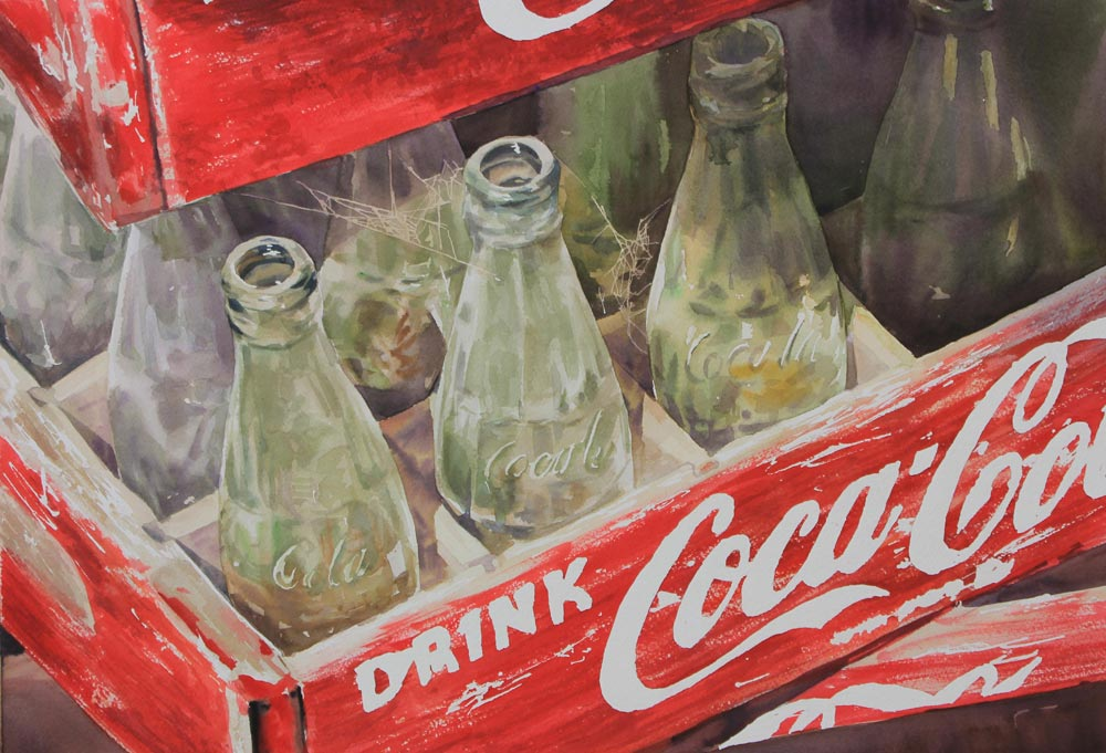 bottiglie cocacola 36x53 acquerello su carta