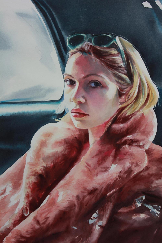 ritratto Madame in pelliccia, 32x48, acquerello su carta, 2015