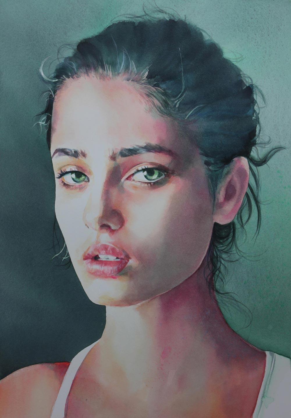 Martina, 34x49, acquerello su carta, 2016 ritratto