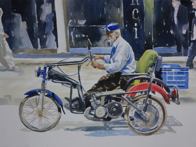 Motociclista -38x56 acquerello su carta