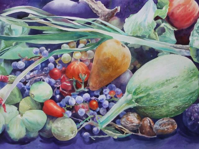 Natura Frutta Verdura, 55x75, acquerello su carta 2015