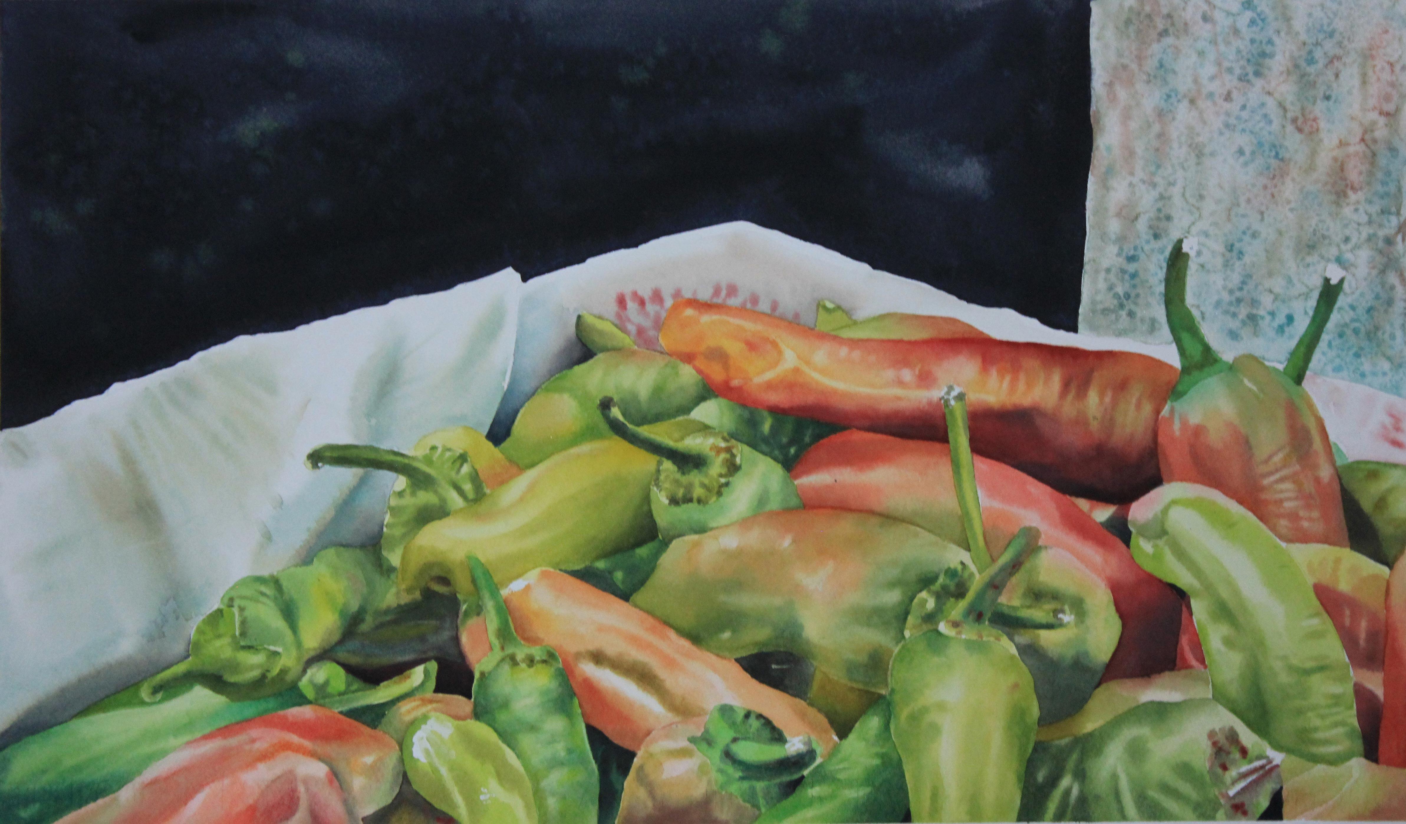 Peperoncini, 38x56, acquerello su carta, 2014