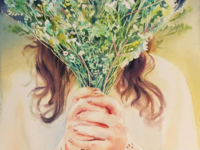 mazzo di fiori, acquerello, preghiera