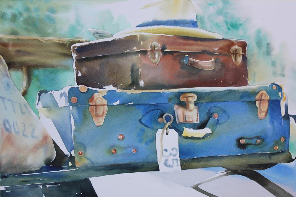 valigie, partenza, viaggio, acquerello