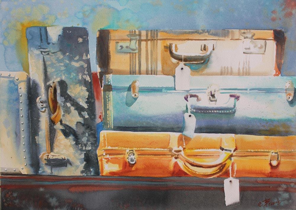 viaggio, acquerello, valigie di cartone